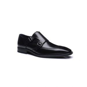 Giày tây nam kiểu hai móc khóa xỏ kim đen chỉ viền nhọn GDNGTN0010-VB