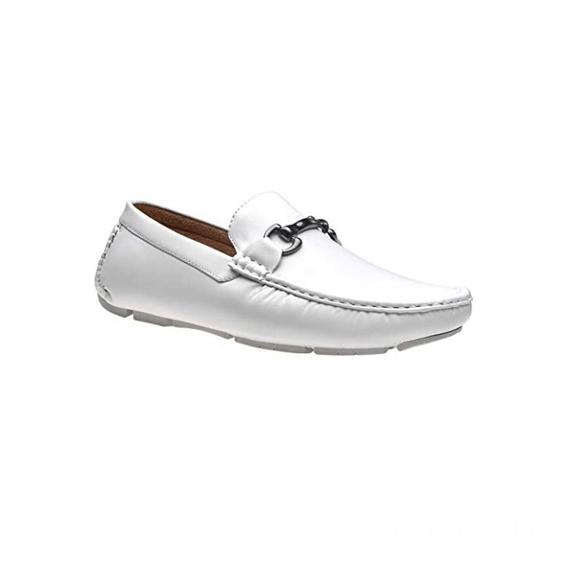 Giày lười nam kiểu Driver loafers mũi viền nổi quai kim loại trắng GDNGLN0012-VB