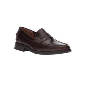 Giày lười nam kiểu Penny loafers mũi tròn bọc gót chân may viền nâu sẫm GDNGLN0006-VB