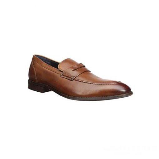 Giày lười nam kiểu Penny loafers mũi nhọn may viền nâu phối màu GDNGLN0005-VB