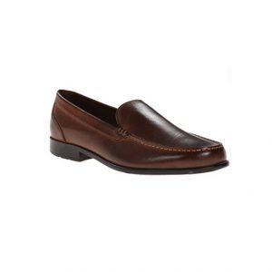 Giày lười nam kiểu Slip-On may viền mũi nâu GDNGLN0003-VB