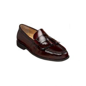 Giày lười nam kiểu Kilt loafers mũi tròn may viền bordeaux GDNGLN0010-VB