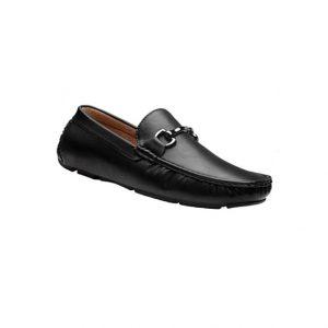 Giày lười nam kiểu Driver loafers mũi viền nổi quai kim loại đen GDNGLN0011-VB