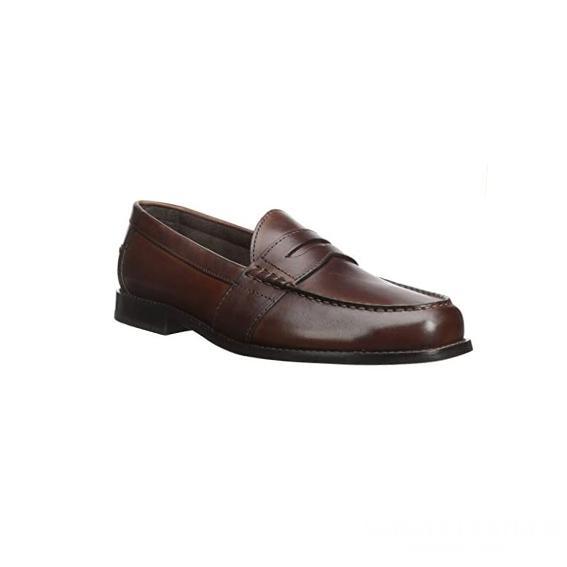 Giày lười nam kiểu Penny loafers mũi tròn may viền nâu sẫm GDNGLN0009-VB