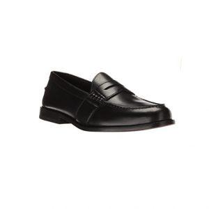 Giày lười nam kiểu Penny loafers mũi tròn may viền đen GDNGLN0008-VB