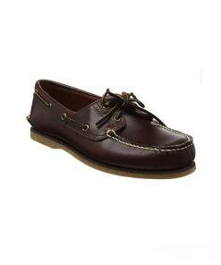 Giày lười nam kiểu Boat Shoes viền chỉ nổi nâu sẫm GDNGLN0013-VB