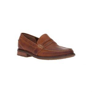 Giày lười nam kiểu Penny loafers mũi tròn bọc gót chân may viền nâu bò GDNGLN0007-VB