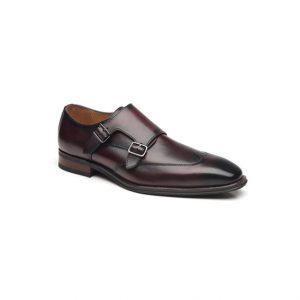 Giày tây nam kiểu hai móc khóa xỏ kim tím phối màu chỉ viền nhọn GDNGTN0009-VB