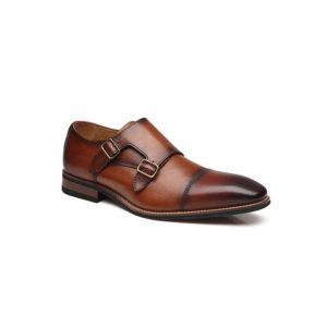 Giày tây nam kiểu hai móc khóa xỏ kim nâu phối màu chỉ viền ngang GDNGTN0008-VB