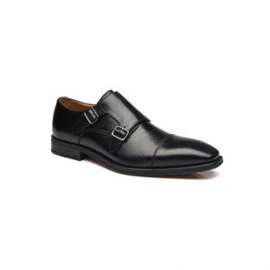 Giày tây nam kiểu hai móc khóa xỏ kim đen GDNGTN0006-VB