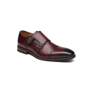 Giày tây nam kiểu hai móc khóa xỏ kim Bordeaux phối màu GDNGTN0007-VB