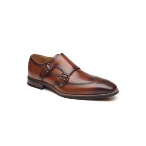 Giày tây nam kiểu hai móc khóa xỏ kim nâu phối màu chỉ viền nhọn GDNGTN0005-VB