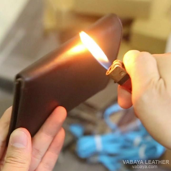 ví da thật đốt có cháy