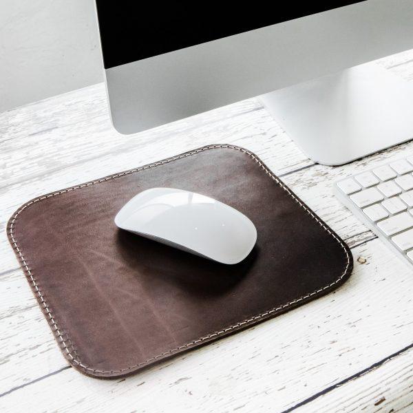 Miếng Lót Chuột Da Thật (Leather mousepad) nâu sẫm PKDDMLCDT0001-VB