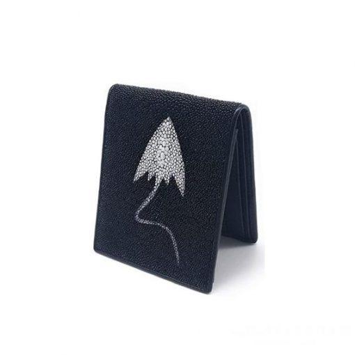 Ví da cá đuối nam họa tiết trang trí cách điệu ví ngang đen - VDNVDCDN0001-VB