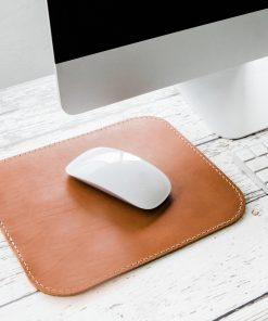 Miếng Lót Chuột Da Thật (Leather mousepad) nâu vàng PKDDMLCDT0002-VB