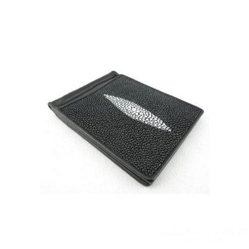 Ví da cá đuối nam họa tiết trang trí hình thoi ví kẹp tiền đen - VDNVDCDN0006-VB