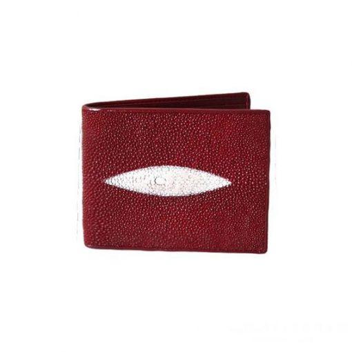 Ví da cá đuối nam họa tiết trang trí hình thoi ví ngang đỏ - VDNVDCDN0007-VB