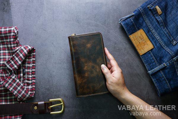 Ví dài cầm tay handmade da bò Vegtan Ví SASAROO07