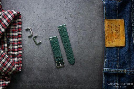 Dây da đồng hồ LAZAP03 Da Kỳ đà Xanh lá Size 22 mm
