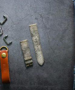 Dây da đồng hồ PIREND11 Da Chân đà điểu Đen xám Size 22 mm
