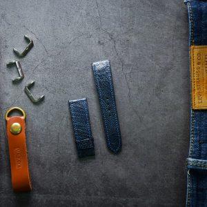Dây da đồng hồ PIREND02 Da Chân đà điểu Xanh dương Size 22 mm