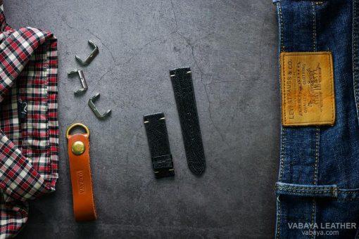 Dây da đồng hồ LAZAP05 Da Chân đà điểu Đen Size 22 mm