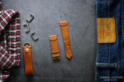 Dây da đồng hồ SPECIAL01 Da Cá sấu Nâu vàng Size 22 mm