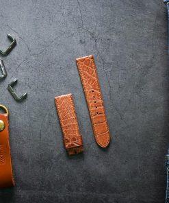 Dây da đồng hồ PIREND07 Da Cá sấu Cam nâu Size 22 mm