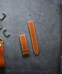 Dây da đồng hồ PIREND08 Da Bò Nâu cam Size 22 mm