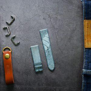 Dây da đồng hồ PIREND10 Da Chân đà điểu Xanh nhạt Size 22 mm