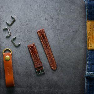 Dây da đồng hồ PIREND12 Da Chân đà điểu Nâu đỏ Size 20 mm