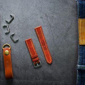Dây da đồng hồ PIREND06 Da Kỳ đà Cam vàng Size 20-22 mm