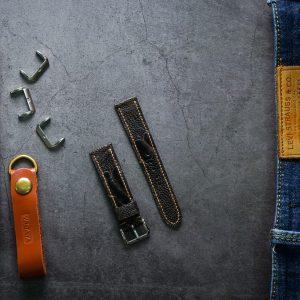 Dây da đồng hồ PIREND14 Da Chân đà điểu Đen Size 20 mm
